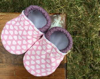 Baby Shoes for Girls - Pink and Dusty Purple with White Hearts - Custom Sizes 0-24 months 2T-4T