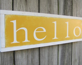 Hello Wooden Sign Welcome Wood Sign Word Art Inspirational Sign Hand Painted Sign Customizable Art