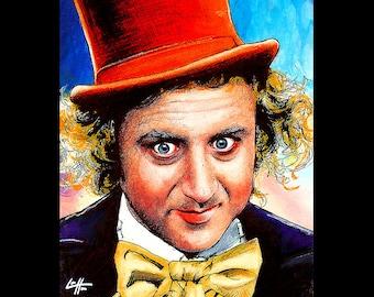 Impression 8 x 10» - Willy Wonka - Gene Wilder Charlie et la chocolaterie Vintage de bonbons délicieux drôle nourriture bonbons Happy Pop Art Portrait mignon