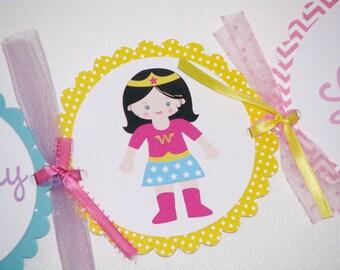 Super Girl Happy Birthday Banner For GIRLS Superhero Party Chevron Pattern