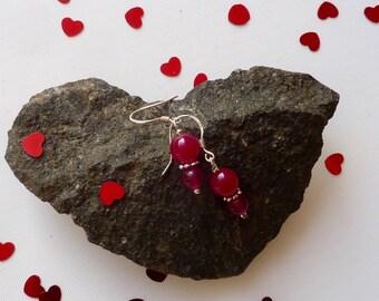 Mother's Day Earrings, Red Agate  Earrings, Gemstone Earrings,  Red Earrings, Ruby Red Earrings,