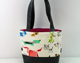 Lulu Medium Tote  Bag - Rainbow Dogs with PU Gray Leather - READY to SHIP   Purse Shoulder Straps 3 pockets Handbag Washable