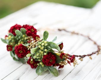 Red burgundy flower crown, Bohemian headpiece, Red and gold flower crown, side floral crown, bridal flower crown, wedding floral crown