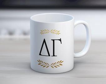 DG Delta Gamma Letters Mug Sorority Coffee Mug
