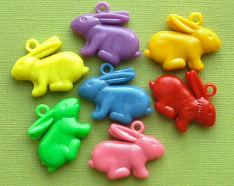 8 Rabbit Charms Kitschy Colorful and Just Plain Fun K010