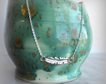 Silver Feather Necklace, gift, inspiration, womens, jewelry, inspirational,