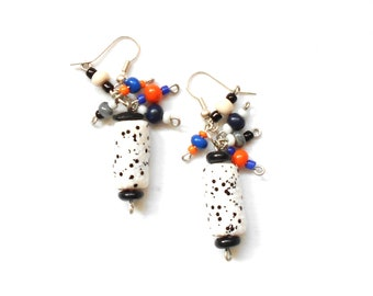 Beaded earrings, Boho earrings,  Handmade earrings, Colorful earrings, Polymer clay earirngs, Polymer clay jewelry