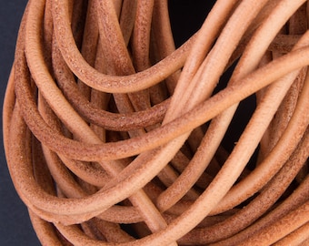 5 meters of 3mm natural leather cord