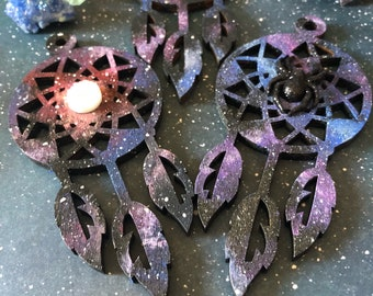 Galaxy Dreamcatcher/Handmade Dreamcatcher/Spirituality/Dreamcatcher/Wooden Art/Galaxy Acrylic Painting/Druzy Stone/Healing Stones/New Age