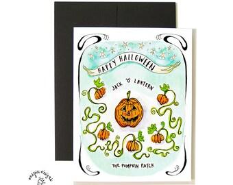 Jack O Lantern Pumpkin Halloween Card Set - A2- Blank