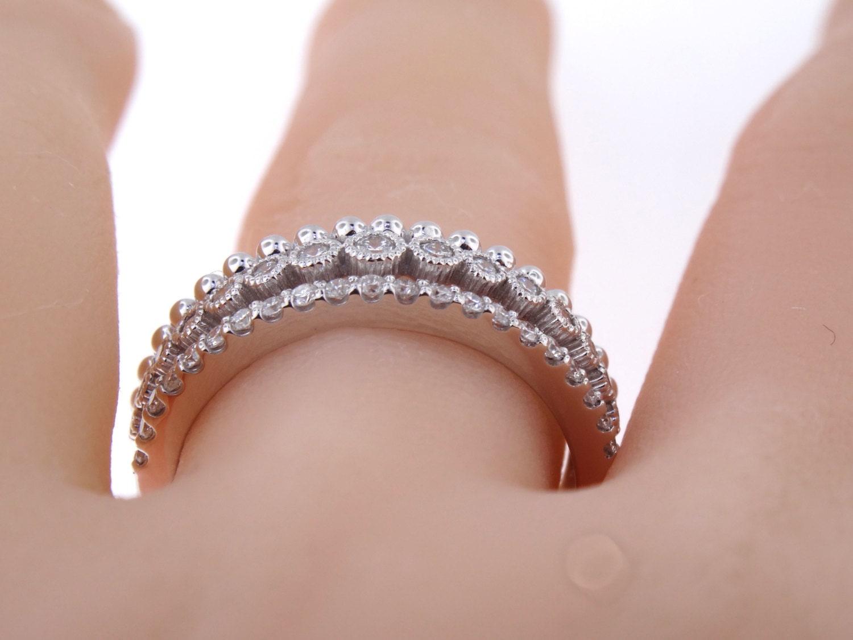 14K White Gold Art Deco Diamond Band Wedding Band Anniversary Band ...
