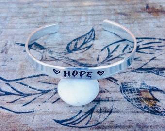 Hope cuff bracelet~ Hand stamped~Customizable bracelet