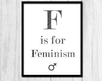 Girl Power Art Feminist Art Feminism Printable Digital Download Office Decor Gift for Her Feminist Poster Instant Download Woman's Lib Art