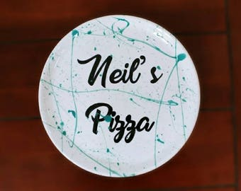 Personalised Ceramic Pizza Plate Custom Colours Personalized Name
