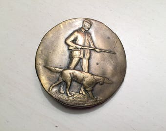 Vintage Brass Belt Buckle Hunter Belt Buckle Hunting Dog Belt dog