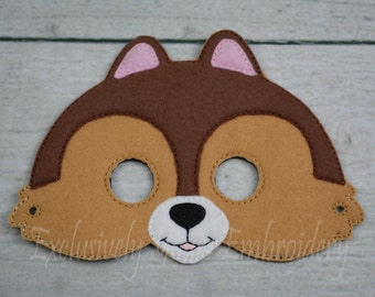 Chipmunk Children's Mask  - Costume - Theater - Dress Up - Halloween - Face Mask - Pretend Play - Party Favor