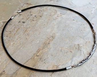 Silver Bar choker, Black leather necklace, Layering bar pendant, simple pendant, biker necklace, organic sterling silver necklace - N2101