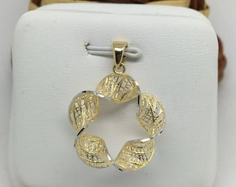 14K Two-Tone Gold Open Twist Flower Pendant