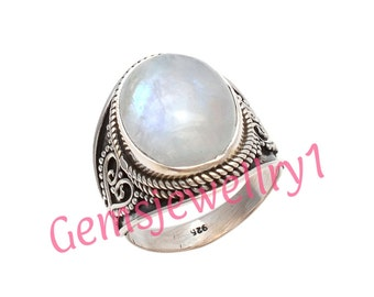 Moonstone Ring,  Rainbow Ring, Stone Ring, Silver Ring, Silver Moon Stone ring, 92.5 Sterling Silver, US Size 5 6 7 8 9 10 11 12 13 14 , 2