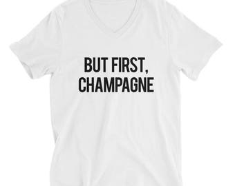 """RESERVED: 6 White V-Necks """"But First Champagne"""" Unisex T-Shirts - Bridesmaid Getting Ready Outfit - Bridesmaid Shirt - Bride Robe"""