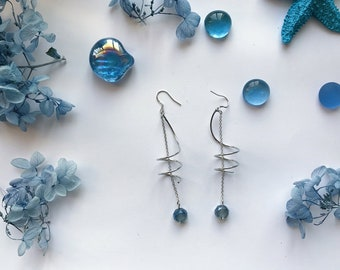 Sea Waves Earrings-3 Different Styles-Blue & Crystal-The Blue Sea