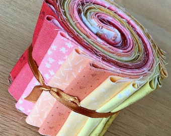 """BIJOUX Warm Colours 2 Mini Jelly Roll by Makower Quilting Fabric Strips 2.5"""" pink red orange yellow"""