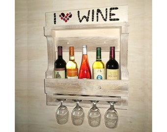 Wooden wine rack - Shabby chic - White shelf - Wedding gift - Gift for father - Rustic wine rack -Provence decor-French provincial furniture