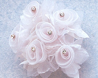 "1 3/4"" White Organza Flowers with Rhinestone - 18 flowers"