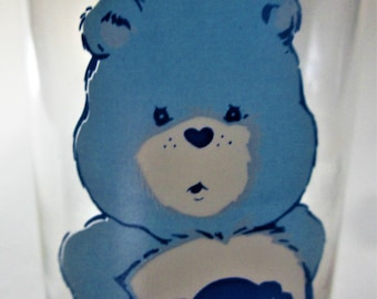 """Care Bears 1983 Pizza Hut Collectible Tumbler Glass """"GRUMPY BEAR"""" Libby Promo Give Away Hugs Welcomed Love American Greetings Valentines"""