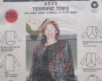 "MacPhee Workshop 335 - Terrific Tops - Tunic Top, Cropped Jacket, Column Dress, Funnel Neck Top - Sizes S - XXL, Bust 34"" - 50"" - UNCUT"