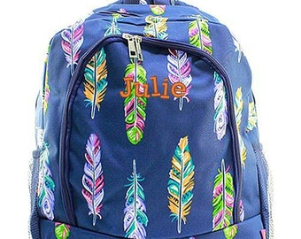 Monogrammed Backpack Personalized Feather Navy Backpack Personalized Backpack Kids Backpack Girls Backpack Boys Backpack