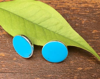Turquoise stud earrings/round earrings/disk studs/ turquoise studs/blue stud earrings/turquoise earrings/Sterling silver/healing/luck
