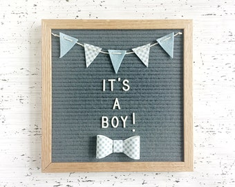 Mini Felt Banner and Bow Tie for Your Letter Board - For Birth Announcements, Gender Reveals, Milestone Photos