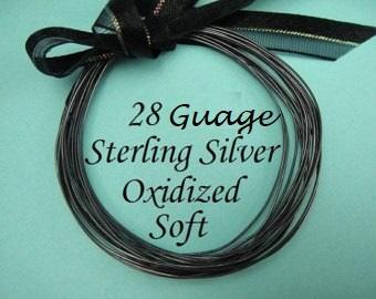 28g gauge ga, 5 FT - Sterling Silver Round Wire, OXIDIZED  Dead Soft