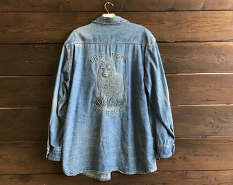 Vintage 90s Wolf Embossed Denim Chambray Button Up