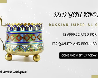 A Beautiful Antique Russian Silver 875 Champleve Enamel Tea Glass Holder.