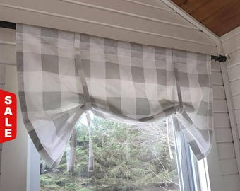 Buffalo Check Tie up Shade, Designer Valance , Plaid Valance, Modern Home Decor, Nursery Decor, Kitchen Curtain