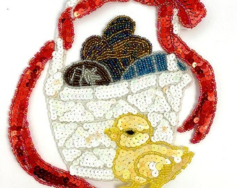 "Easter Basket with Chick Appliqué, Sequin Beaded, 9"" x 9""  -B282-0301"