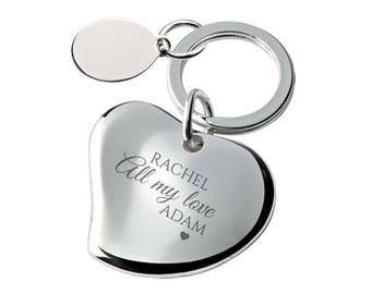 Engraved girlfriend, wife, fiancee heart keyring gift, All my love - SILVER PLATED, personalised contoured heart keyring - 148-LV1