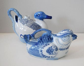 Chinese Bird Teapots, Blue and White China, Chinoiserie, Vintage Duck Teapot, Porcelain Drink Pitcher, Water Jug, Kitchen Asian Decor