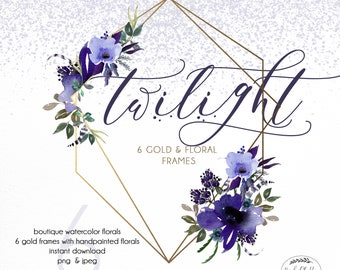 LAVENDER FLORAL CLIPART Watercolor Handpainted Florals Gold Frames Geometric Gold Invitation clip art instant download png gold rustic lilac