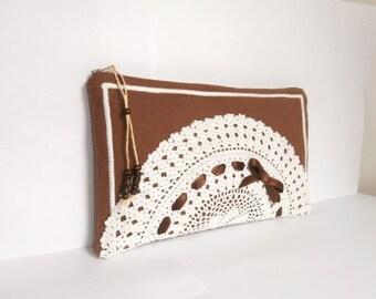 Brown linen and vintage white crochet cotton doily zipper clutch, handmade, Bridesmaid gift bag, cosmetic bag, gadget case