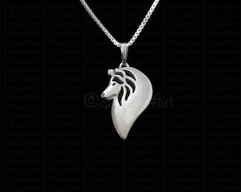 Shetland Sheepdog profile jewelry - sterling silver pendant and necklace