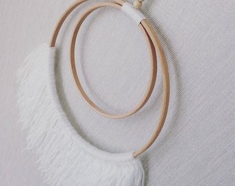 W H I T E double hoop  Wool Wall hanging