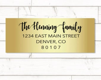 Gold Foil Return address label - custom- 2 5/8 x 1 inch rectangular, gold foil label, sticker, wedding announcements - SET OF 30