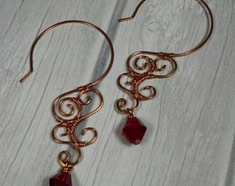 Red and Copper Filigree Earrings