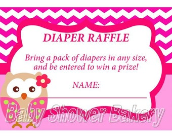 Owl Diaper Raffle Ticket Boy Owl Baby Shower Game Instant