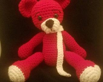 Loveable Handmade Red Teddy Bear.