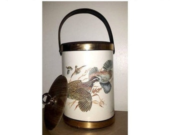 Vintage Gold Woodgrain Ice Bucket,Sportsman,Gold Ice Bucket,Mad Men,Mid Century,Gold Barware,Quail Ice Bucket,Hunter,Ice Bucket, W D,Gaither