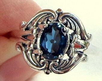 Size 7, London Blue Topaz, Sterling Silver, Faceted Gemstone, Awesome Color, Vintage Filigree Setting